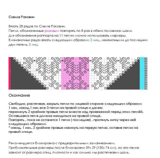 """Шаль """"Очаровательные раковины"""": описание и схема 4"""