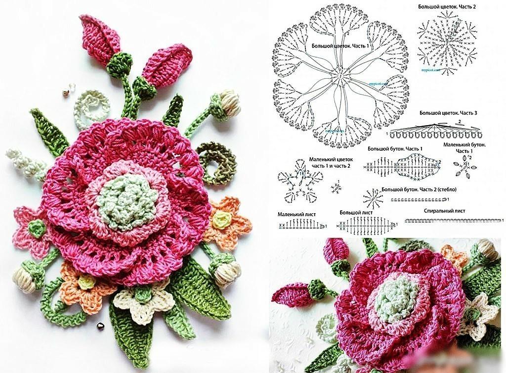 Схемы вязания крючком цветов картинки
