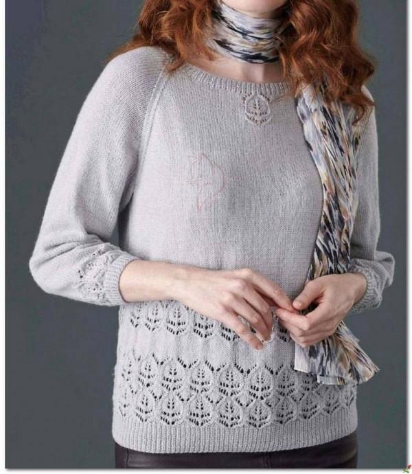Узор спицами для нежного пуловера 0