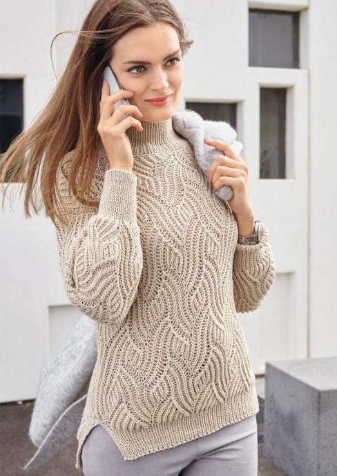 Стройнящий женский свитер с рельефным узором 0