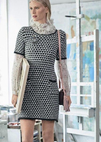 ba705e9d08e Короткое платье с карманами из категории Интересные идеи – Вязаные идеи
