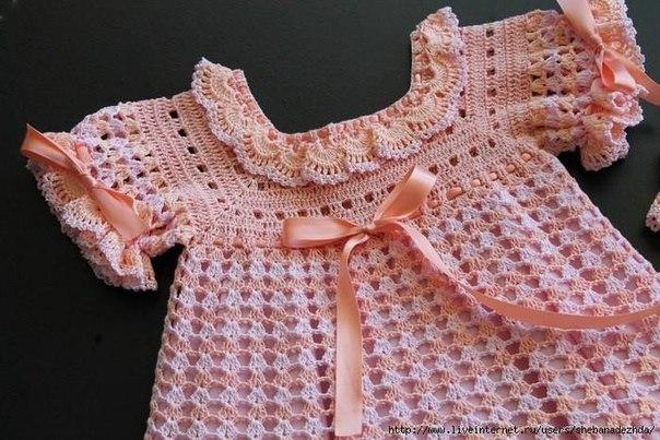 Персиковое платье для малышки 1