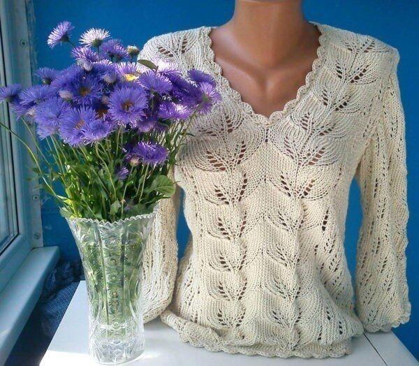 Милый пуловер спицами 0