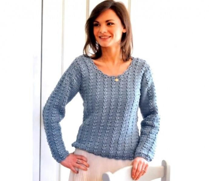 Женский свитер, выполненный крючком 0
