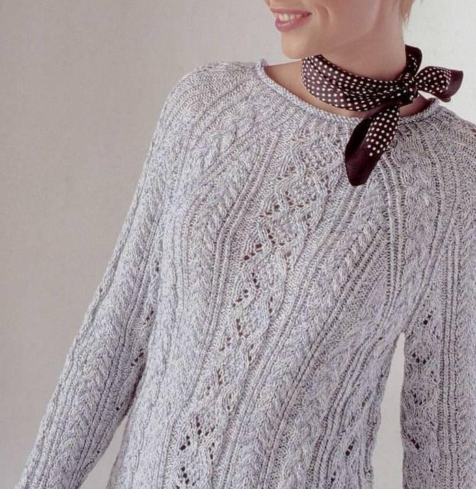 нежный пуловер реглан с косами описание и схемы вязания из