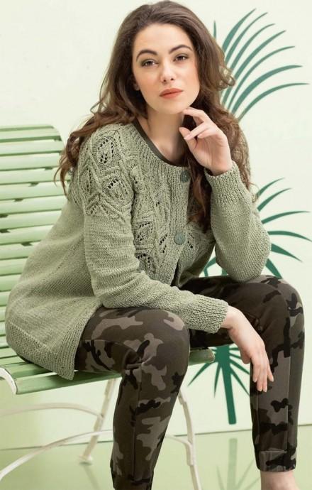 Жакет с ажурной кокеткой цвета хаки