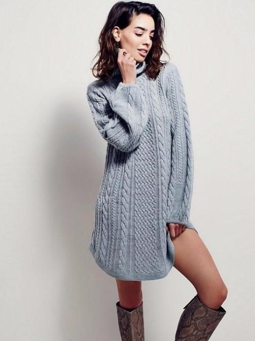 стильное теплое платье спицами из категории интересные идеи