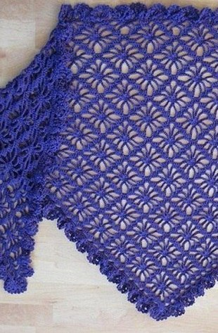 �зысканная шаль василькового цвета 0