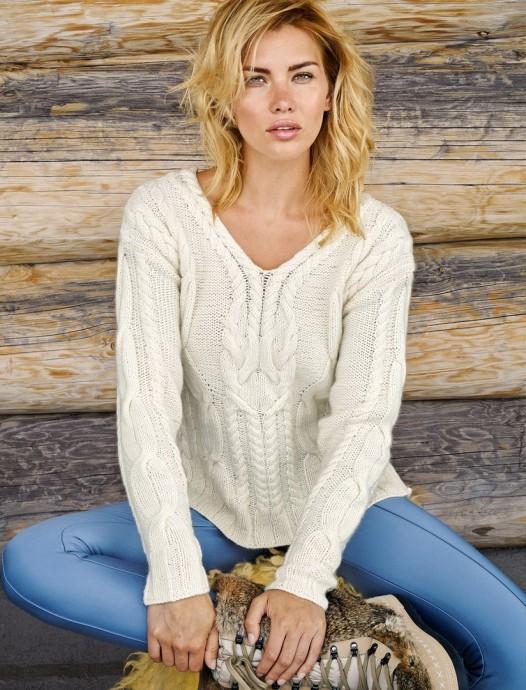 Женский пуловер с коллажем из кос 0