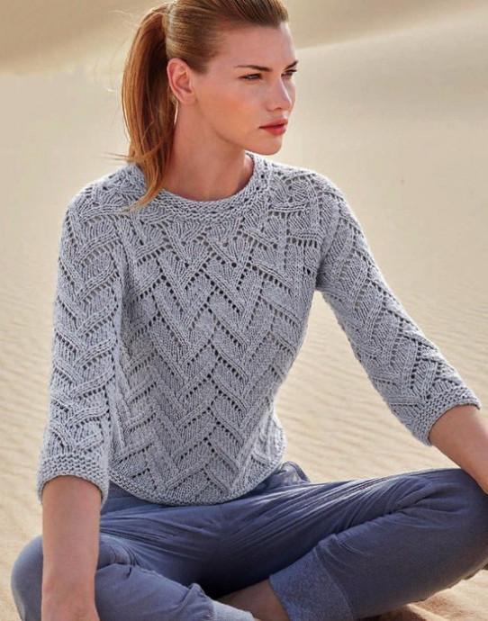 Стройнящий светло-серый пуловер 0