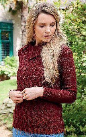 Женский пуловер с аранами 0