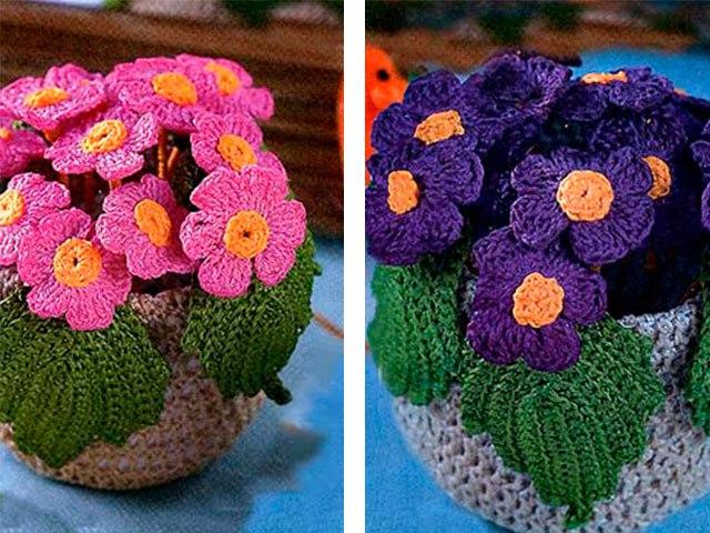 вязаные цветы в горшках крючком схемы с описанием из категории