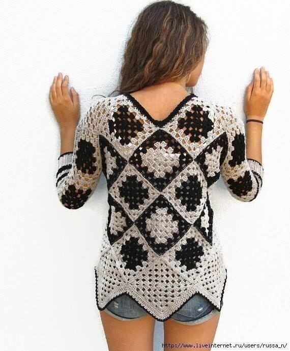 Пуловер крючком 1