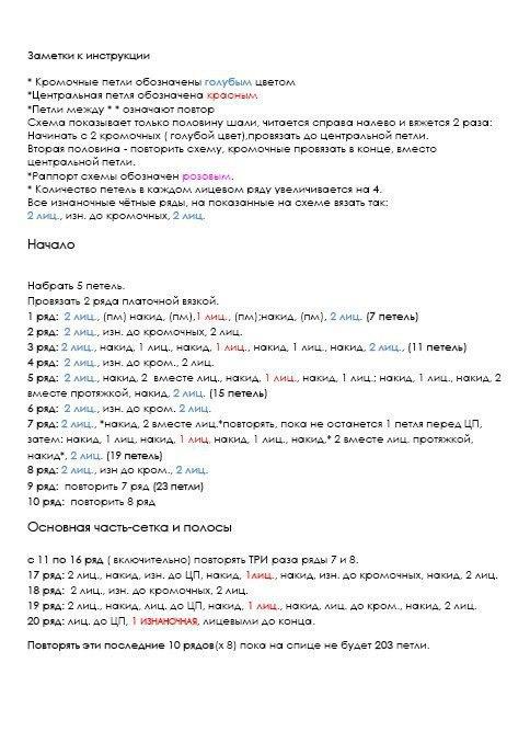 """Шаль """"Очаровательные раковины"""": описание и схема 3"""