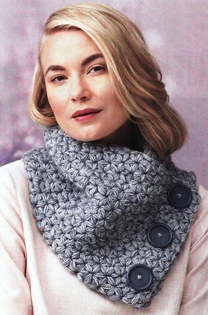 шарф снуд с крупными пуговками из категории интересные идеи