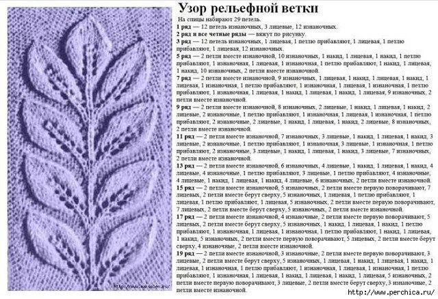 Узоры с листьями спицами 76