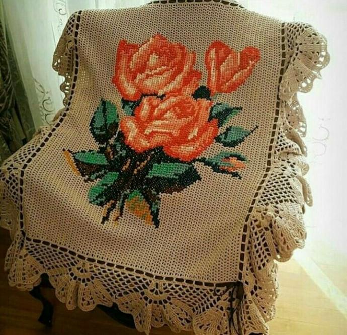вышивка по вязаному полотну из категории ищу помогите советом
