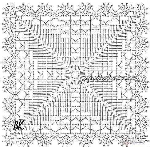 Квадратные мотивы для скатерти или салфетки 1