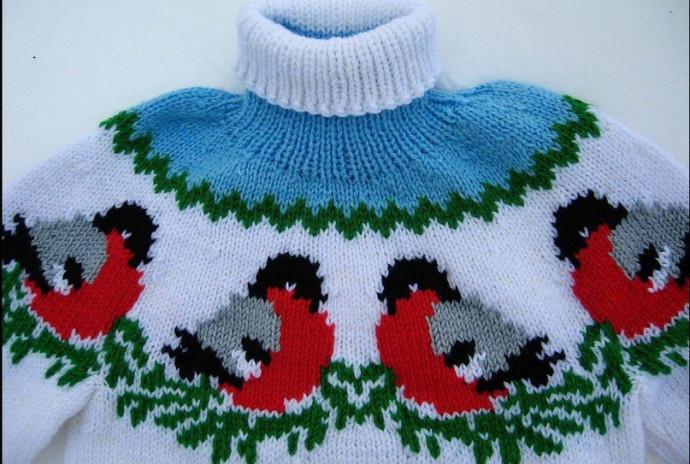 """Шапочка и свитер """"Снегири"""": находка для любящей бабушки! 1"""
