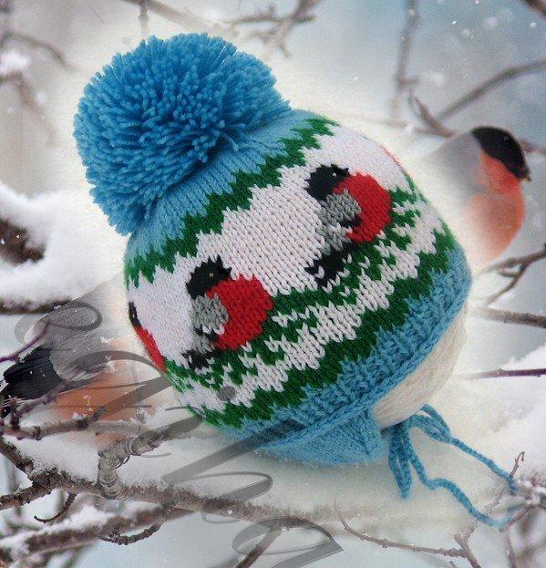 """Шапочка и свитер """"Снегири"""": находка для любящей бабушки! 0"""
