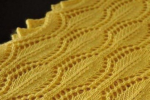 Красивый узор с листиками, вяжем спицами 0