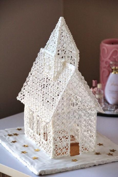 Рождественские домики крючком и спицами