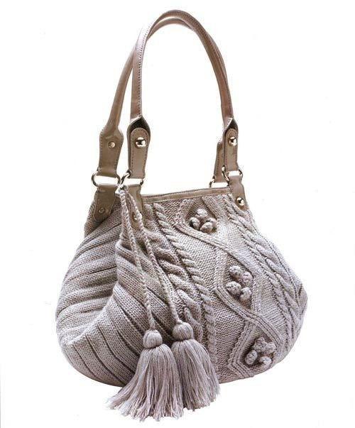 Вязаная сумка спицами 0