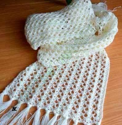 вязание ажурного шарфа со схемами