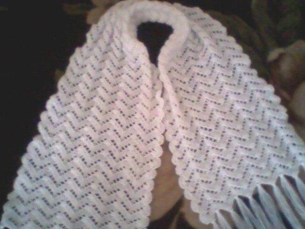 ажурный шарфик из мохера крючком схема